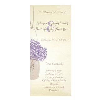 Programa do casamento do hydrangea do lilac do fra 10.16 x 22.86cm panfleto