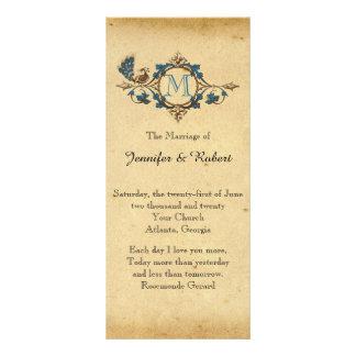 Programa do casamento do monograma do pavão do 10.16 x 22.86cm panfleto