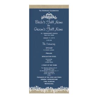 Programa do casamento dos azuis marinhos da festão panfleto personalizado