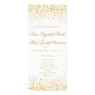 Programa do casamento dos confetes do ouro 10.16 x 22.86cm panfleto