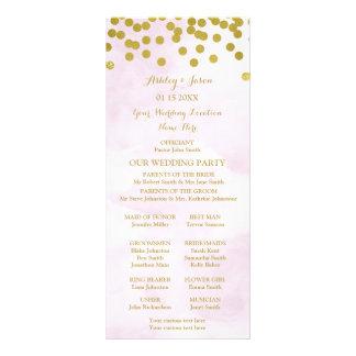 Programa do casamento dos confetes do ouro da panfleto