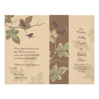 Programa do casamento outono dos pássaros e das vi modelos de panfleto