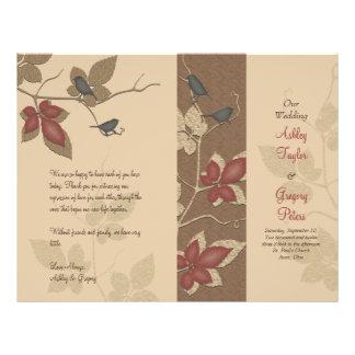Programa do casamento outono dos pássaros e das vi modelo de panfleto