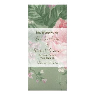Programa do casamento para o casamento do rosa do 10.16 x 22.86cm panfleto