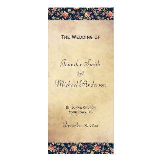 Programa do casamento para o rosa elegante do azul 10.16 x 22.86cm panfleto