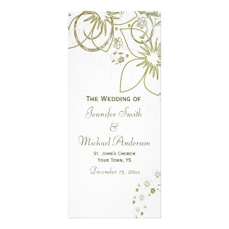 Programa do casamento para o verde e o casamento 10.16 x 22.86cm panfleto