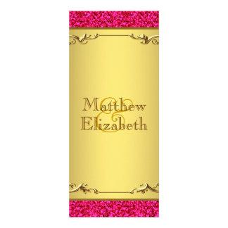 Programa do menu do casamento do rosa quente e do convite personalizados