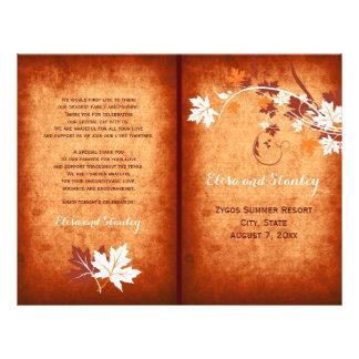 Programa dobrado das folhas de bordo casamento flyer 21.59 x 27.94cm