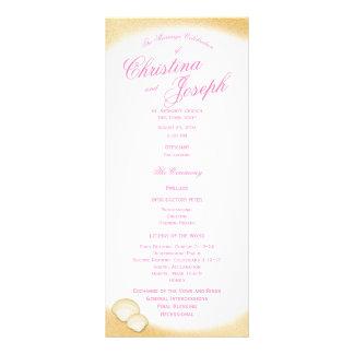 Programa dourado do casamento do Seashell da praia 10.16 X 22.86cm Panfleto