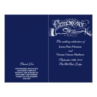 Programa elegante da cerimónia de casamento dos panfleto personalizados