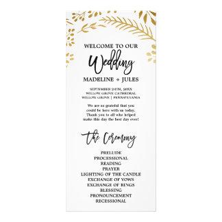 Programa elegante do casamento da folha do ouro panfleto