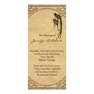 Programa elegante do casamento do pássaro de 10.16 x 22.86cm panfleto