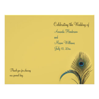 Programa elegante do casamento do pavão panfleto personalizados