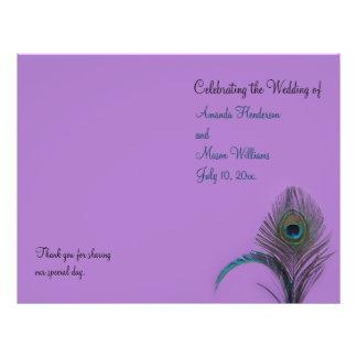 Programa elegante do casamento do pavão (roxo) panfletos