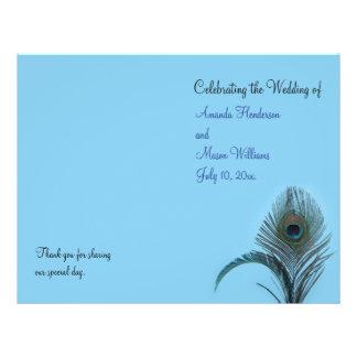 Programa elegante do casamento do pavão (turquesa) flyer 21.59 x 27.94cm