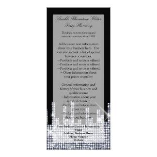 Programa elegante Glittery encanto preto/de prata 10.16 X 22.86cm Panfleto