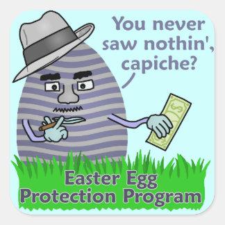 Programa engraçado da proteção do ovo da páscoa adesivo quadrado