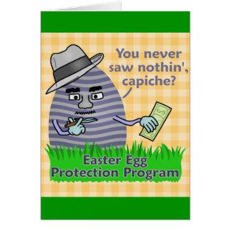Programa engraçado da proteção do ovo da páscoa cartão comemorativo