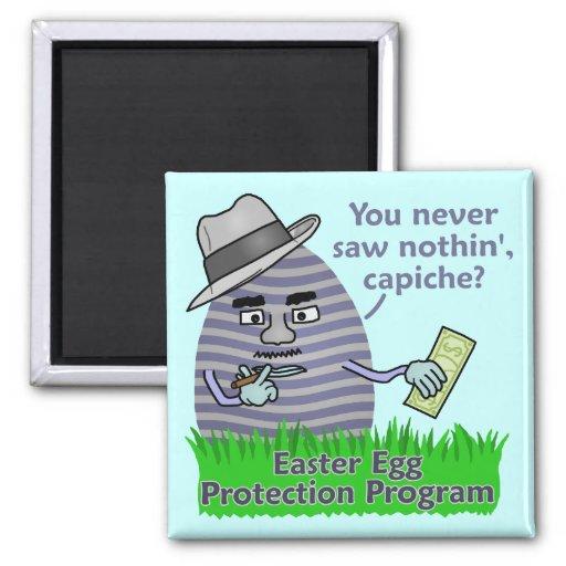Programa engraçado da proteção do ovo da páscoa imã de geladeira