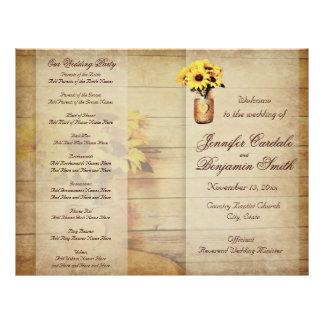 Programa envolvido guita do casamento do girassol modelo de panfletos
