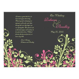 Programa floral abstrato do casamento do rosa e do flyer 21.59 x 27.94cm