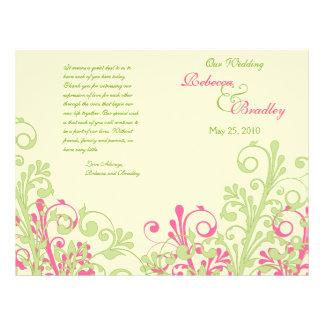 Programa floral abstrato do casamento do rosa quen flyer 21.59 x 27.94cm