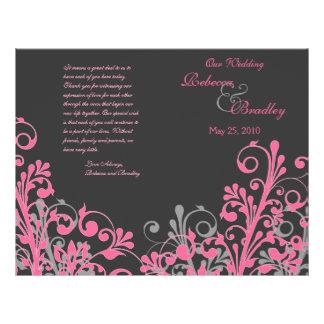 Programa floral abstrato do casamento do rosa quen modelo de panfletos