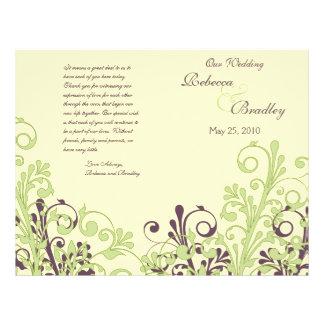 Programa floral abstrato verde & do roxo do casame panfleto coloridos