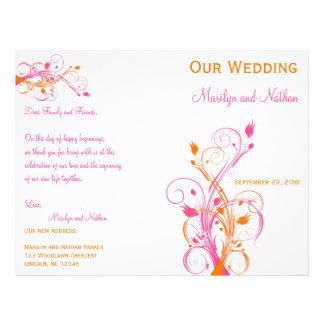 Programa floral alaranjado, cor-de-rosa, e branco  panfleto personalizados