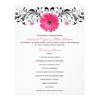 Programa floral branco do casamento do preto cor-d panfleto personalizados