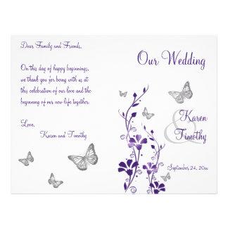Programa floral do casamento da borboleta de prata flyer