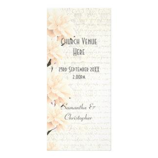 Programa floral do casamento da igreja do pêssego 10.16 x 22.86cm panfleto