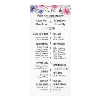 Programa floral do casamento da lavanda panfleto