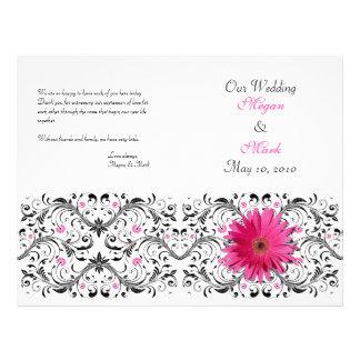 Programa floral do casamento da margarida cor-de-r flyer 21.59 x 27.94cm