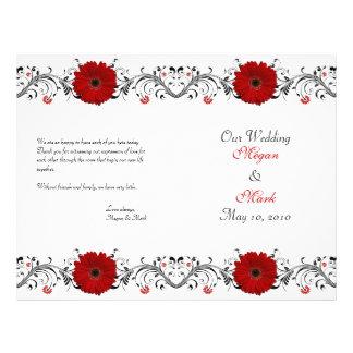 Programa floral do casamento da margarida vermelha flyer 21.59 x 27.94cm