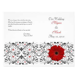Programa floral do casamento da margarida vermelha panfleto personalizado
