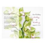 Programa floral do casamento da orquídea verde do  panfletos personalizados