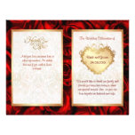 Programa floral do casamento da rosa vermelha da B Panfleto Personalizado