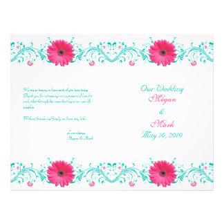 Programa floral do casamento de turquesa flyer 21.59 x 27.94cm