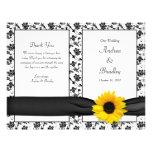 Programa floral do casamento do damasco do girasso panfleto personalizado
