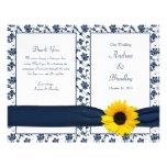 Programa floral do casamento do damasco do marinho panfletos personalizados