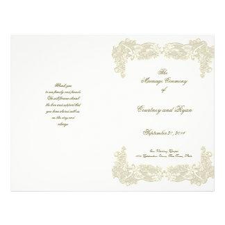 Programa floral do casamento do laço do país do vi panfleto