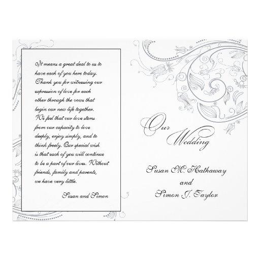 Programa floral do casamento do peltre elegante panfletos personalizados