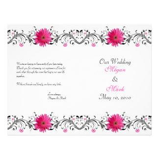 Programa floral do casamento do preto cor-de-rosa flyer 21.59 x 27.94cm