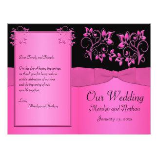 Programa floral do casamento do preto e do rosa