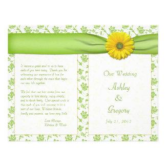 Programa floral do casamento do verde amarelo da m panfleto coloridos