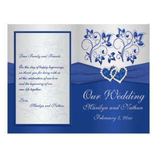 Programa floral do casamento dos azuis marinhos e  flyer 21.59 x 27.94cm