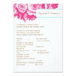 Programa floral Luxe do casamento no rosa & no Convite 12.7 X 17.78cm