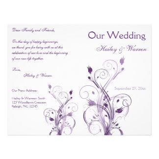 Programa floral roxo e branco do casamento flyer 21.59 x 27.94cm