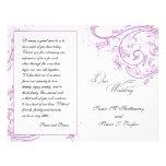 Programa floral roxo elegante do casamento panfleto personalizados